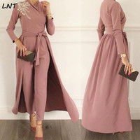 Women Jumpsuit with Removable Skirt Muslim Modest Evening Gown Dress Formal Party Wear