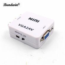 Mini 1080 p vga para av conversor adaptador hd rca cvbs av para vga conversor de vídeo
