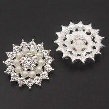 Tiges de strass en cristal, 22mm, 5 pièces/lot, boutons de couture en alliage, bricolage, vêtements de mariage, accessoires, boutons en perles, décoratif