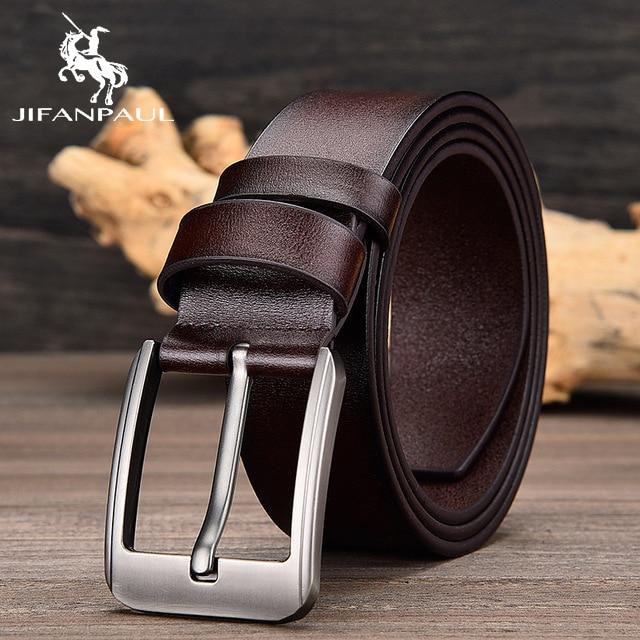 JIFANPAUL бренд подлинный мужской модный кожаный ремень сплав Материал Пряжка Бизнес Ретро Мужские джинсы дикие ремни высокого качества - Цвет: JF02 3.8CM Coffee