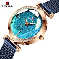 報酬ファッション新しい女性はラグジュアリーブランドの女性のクォーツ時計ステンレススチール防水レディースブレスレット腕時計