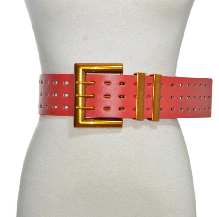 Women's Runway Fashion Pu Leather Cummerbunds Female Dress Corsets Waistband Belts Decoration Wide Belt R2390