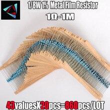 Film-Resistor Assorted-Kit Sample-Bag Metal 43valuesx20pcs 1mohm 1%1r 860PCS 1/8w