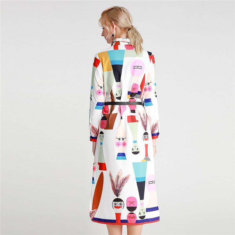 Herbst Hemd Kleid Neue Mode 2019 frauen drehen unten Kragen Langarm Cartoon Bilder Druck Unregelmäßigen Saum Knie länge Kleid - 2