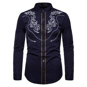 Image 4 - قميص رجالي صيني مطرز باللون الذهبي قميص بياقة الماندرين للرجال فستان رجالي بأكمام طويلة قميص فاخر بقصر قميص سهرة للرجال