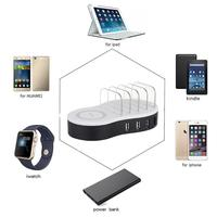W008 Portable 4 Port USB Desktop Charger with Holder Wireless+USB Charging Station Dock Adapter for Phone Tablet Charging Baffle