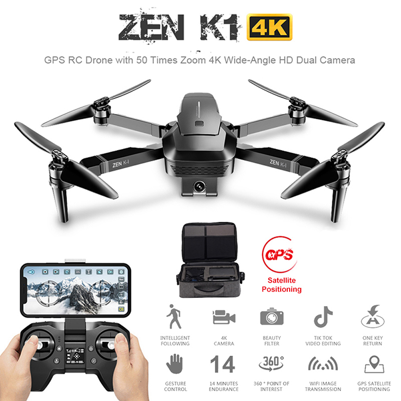 ZEN K1 GPS RC Drone With 50 Times Zoom 4K Wide-Angle HD Dual Camera Wifi FPV Brushless Motor 28 Mins Flight Time SG906 Drone 4k