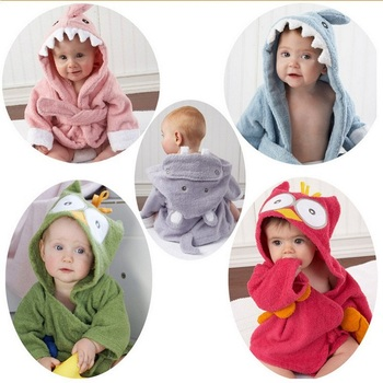 0-6Y Children Robes Animal Boys Girls Cotton sleepwear Baby Bathrobe Romper kids Home wear Baby Hooded Bath Towel Robes Cartoon 1