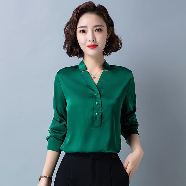 Korean Fashion Silk Women Blouses Satin Office Lady Shirt and Blouse Loose Long Sleeve Blusas Largas Plus Size Womens Tops 4