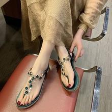 Women Gladiator Sandals Bohemia Casual Shoes Female Rhinestone Flats Beach Green Black Flip Flop