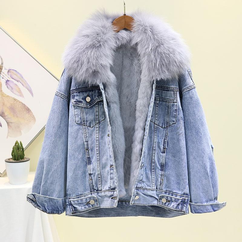 Джинсовая куртка с большим меховым воротником, женское базовое пальто, зимняя съемная подкладка из кроличьей шерсти, Толстая теплая джинсовая куртка, свободное женское джинсовое пальто - 3