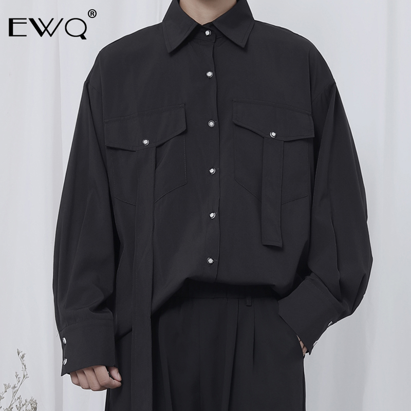 EWQ / 2020 Spring New Men's Clothing Personality Shirt Male Long Sleeve Basis All-match Niche Design Japense Style Tops 9Y334