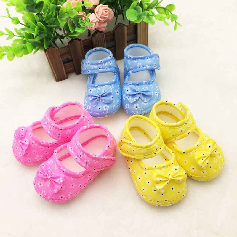 Infant Baby First Walkers Prewalker Toddler Girls Kid Bowknot Soft Anti-Slip Crib Shoes 0-18 M