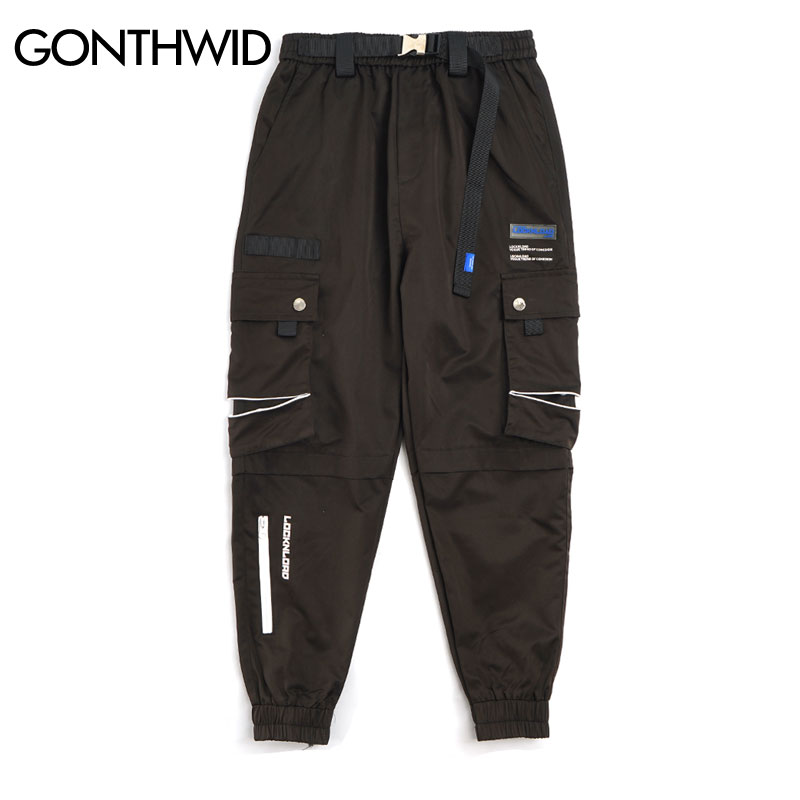 GONTHWID Hip Hop Multi Zipper Pockets Cargo Joggers Harem Track Pants Tactical Streetwear Men Fashion Casual Trousers Sweatpants