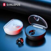SANLEPUS 미니 블루투스 이어폰 무선 헤드폰 핸즈프리 이어 버드 마이크/충전 박스 전화 아이폰 삼성 xiaomi