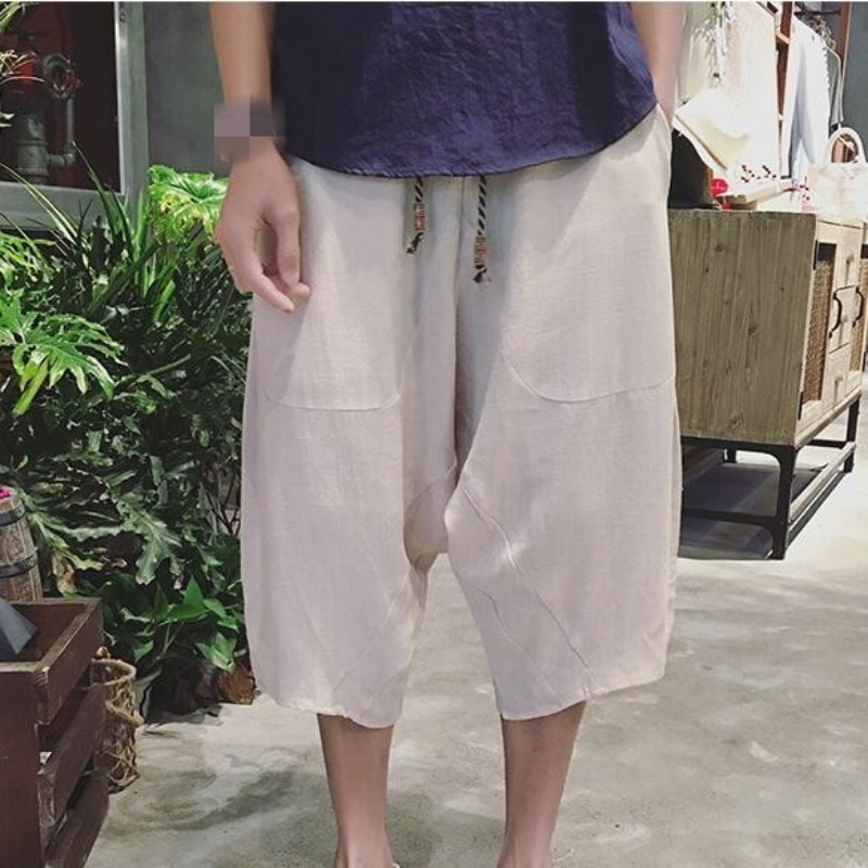 Chinese Style Solid Color PLus Size Summer Mens Pants Tai Chi Aikido Hakama Fashion Trousers For Men Kung Fu Pants Free Shipping