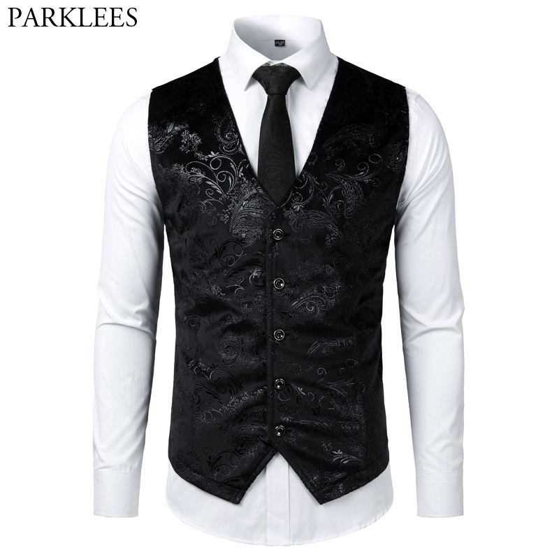 Steampunk Victorian Gothic Mens Cosplay Costume Vest Jacket Waistcoat 2019 New Breasted V-Neck Suit Vest/Tuxedo Waistcoat Gilet