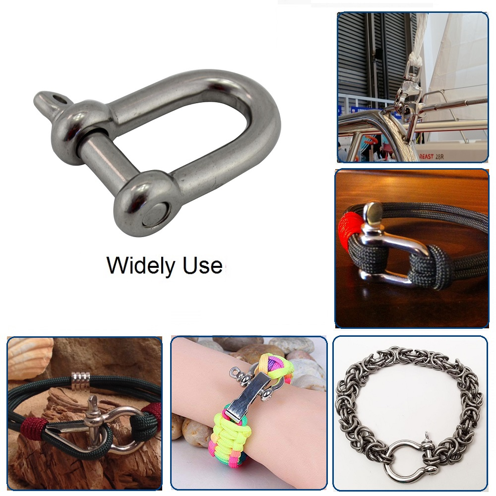 TO-WWENXINHZ 304 Stainless Steel 5mm Screw Pin Chain D Dee Shackle 5pcs 2pcs Color : 5Pcs