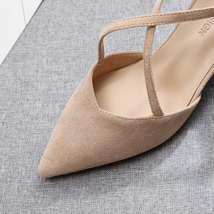 Image 5 - 5cm High Heels Shoes Woman Cross Tied Flock Pointed Toe Thin Heels Pumps Shoes Female Nude Elegant Sandals Party Wedding Shoes