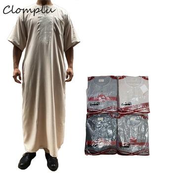 Clomplu 12pcs Abaya Kaftan Jubba Thobe Muslim Saudi Arabia Casual Islamic Muslim Clothing Men Midi Sleeve Random Colors