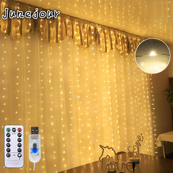 3x3m Fairy Curtain Light LED Remote Control USB Garland String Lights for Home Wedding Window Holiday Christmas Party Decoration heart led curtain lights 1 5m 5t ip44 waterproof string lights for wedding valentine s day home window wall decoration d30