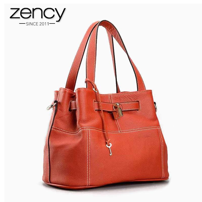 Zency 100% Soft Genuine Leather Elegant Women Shoulder Tote Bag Charm Orange Fashion Messenger Crossbody Purse With Lock Handbag