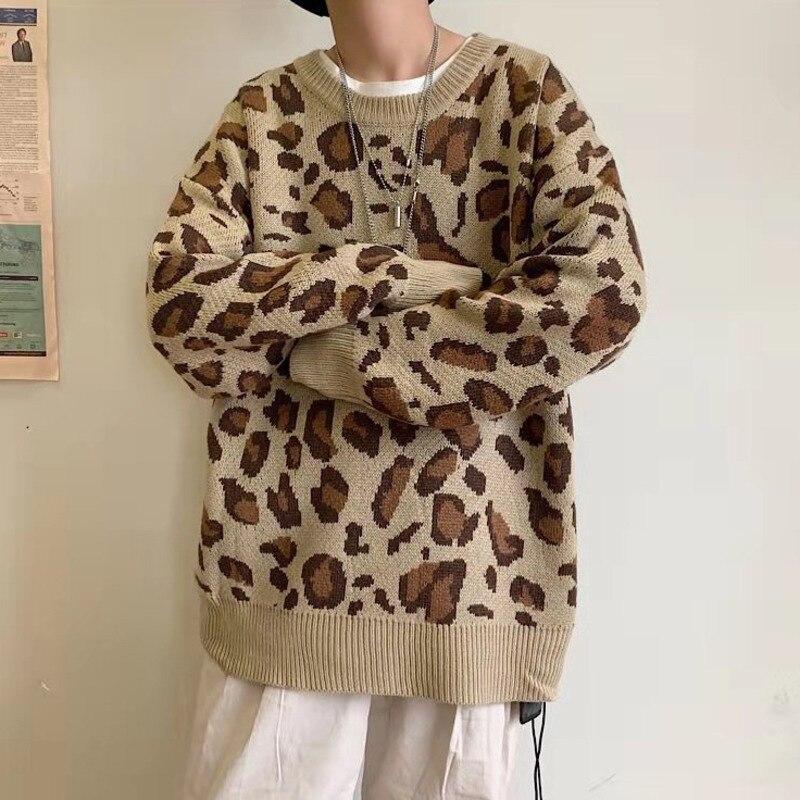 Winter Leopard Sweater Men's Warm Fashion Pullover Men Casual Knit Sweater Man Streetwear Sweaters Loose Sweter Clothes Male