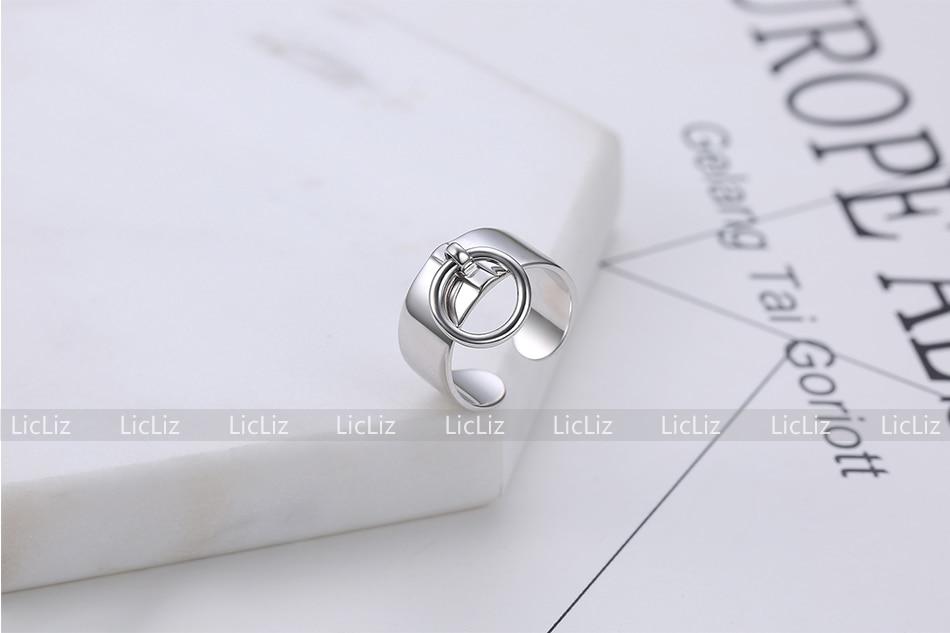 He0bb17e49e084280acdef582620c382dE LicLiz 2019 925 Sterling Silver Big Open Adjustable Ring for Women Men Plain White Gold Jewelry Joyas de Plata 925 Bijoux LR0329