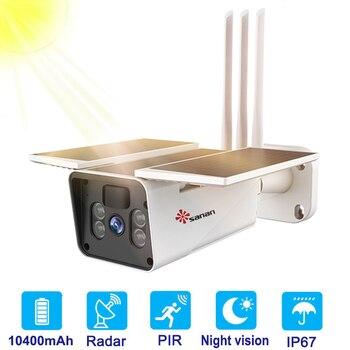 100% inalámbrica Cámara IP 4G Tarjeta SIM con batería Solar para exteriores WIFI 1080P PIR/Radar detección humana cámaras de vigilancia CCTV