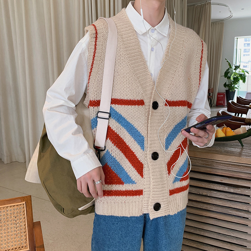 2019 Vest Sweater Male Loose V-neck Sleeveless Vest Cardigan Autumn Korean Version Of The Trend Of Personality Men's Sweater