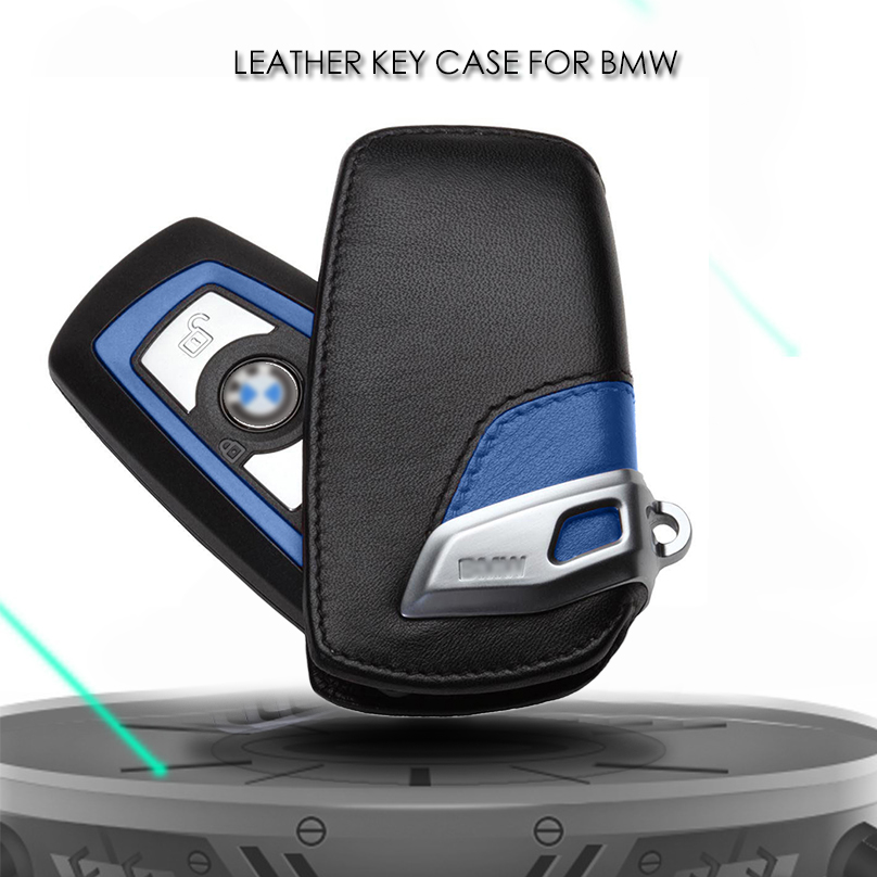 Sport Line Genuine Leather Key Case Bag Cover FOB Holder For BMW 3 5 7 Series X3