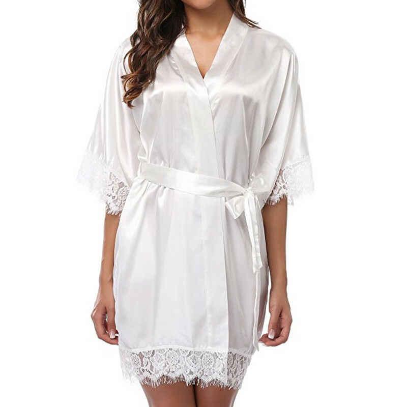 אופנה נשים של סקסי מוצק צבע משי תחרה סאטן Robe הכלה שושבינה שמלת חתונה קימונו חלוק רחצה הלבשת
