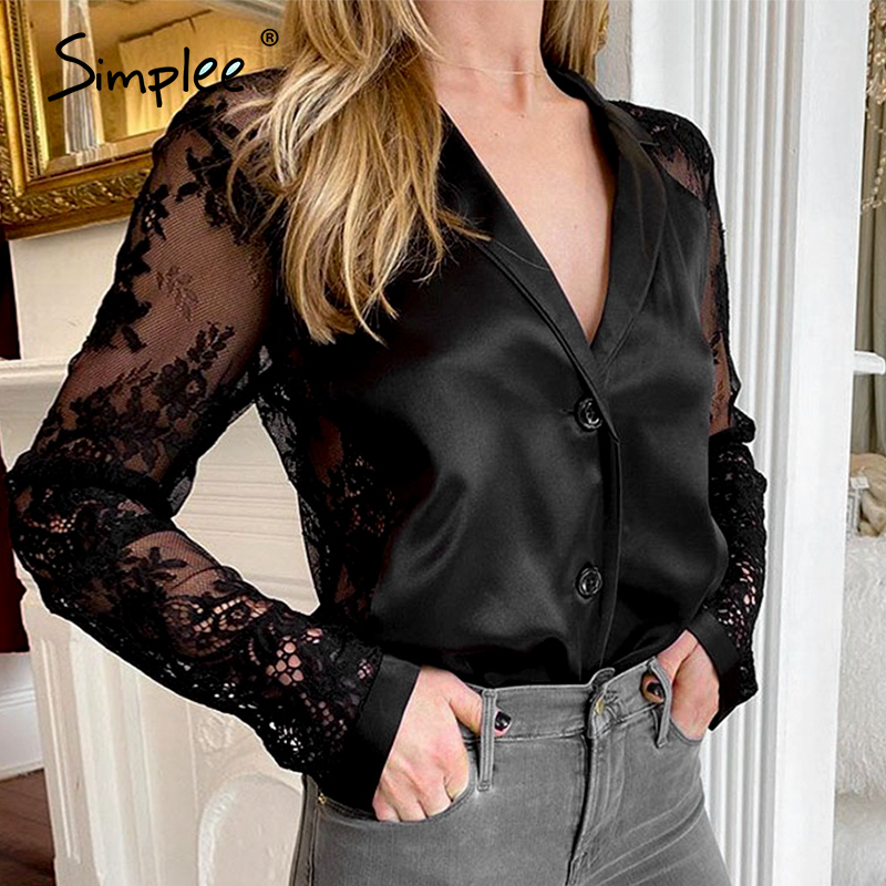 Simplee Sexy Lace Embroidery Sleeve Women Blouse Shirt V-neck Satin Solid Female Top Shirt Casual Party Club Wear Ladies Tops