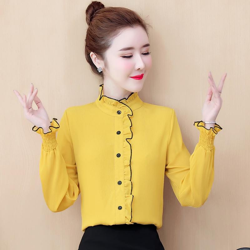 COIGARSAM Casual Full Sleeve Shirt Womens Tops Spring Chiffon Women Shirts White Red Yellow Black 8690