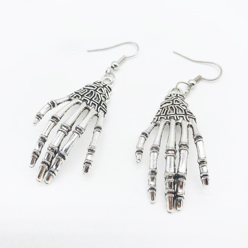 New Trend Creative Skeleton Palm Earrings Silver Skeleton Palm Personality Earrings Women Must Earrings Gifts