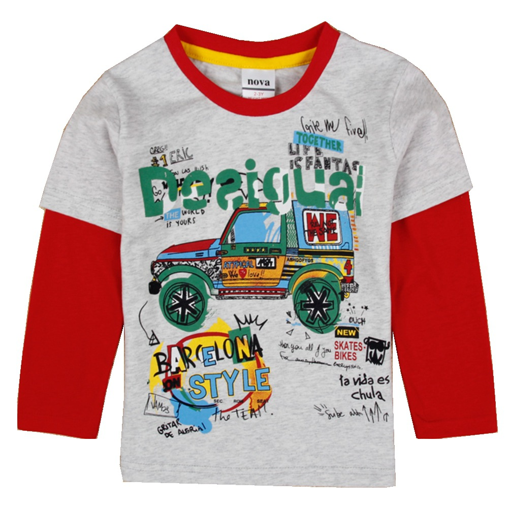 Boys T-Shirt Clothing Spring Long-Sleeve Autumn Kids Breathable Children Cotton Casual