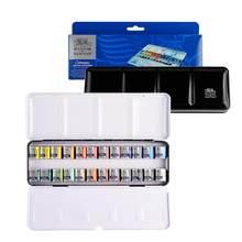 Winsor newton cotman pintura aguarela sólida 12/24 cores conjunto caixa de ferro profissional artista pigmento