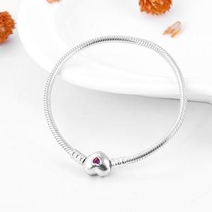 Image 3 - Gerçek 925 ayar gümüş yılan kemik zinciri kalp şekli pembe CZ büyüleyici bilezik moda kadınlar takı sevgililer günü hediyesi 2019