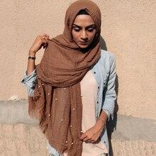 뜨거운 74 색 진주 일반 거품 면화 Crinkle 스카프 이슬람 Hijab 레이디 긴 머리 랩 Shawls 스카프 10 개/몫
