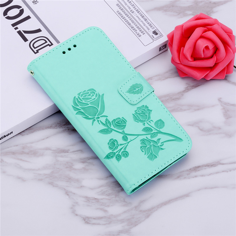 3D Rose Leather Printed Flower <font><b>Case</b></font> for Nokia <font><b>Lumia</b></font> 630 635 636 550 540 535 532 435 <font><b>530</b></font> 520 525 430 <font><b>Flip</b></font> Wallet Cover with Strap image