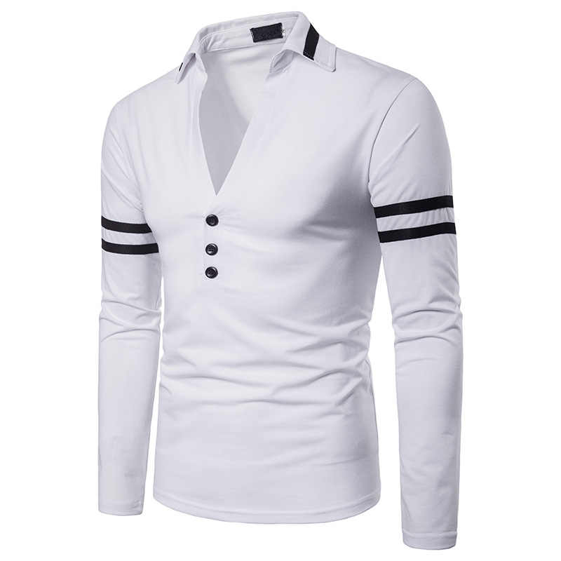 Wenyujh Long Sleeve  Shirt 2019 Autumn Men Breathable Poloshirts Male Slim Fit Casual Stripes Homme Tops Camisa