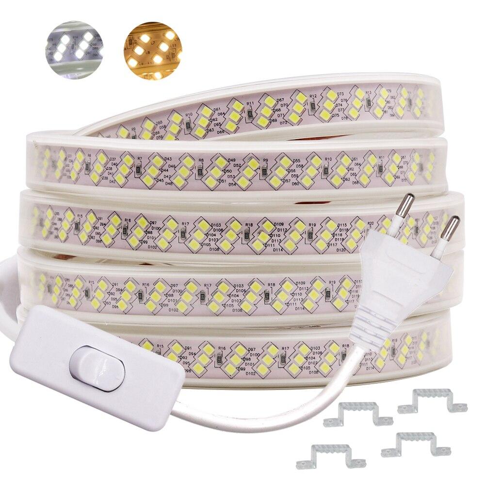 220V Led Strip Light 2835 SMD 276LEDs/m Oblique Three Rows High Bright Led Light Strip Waterproof Flexible LED Ribbon Decoration