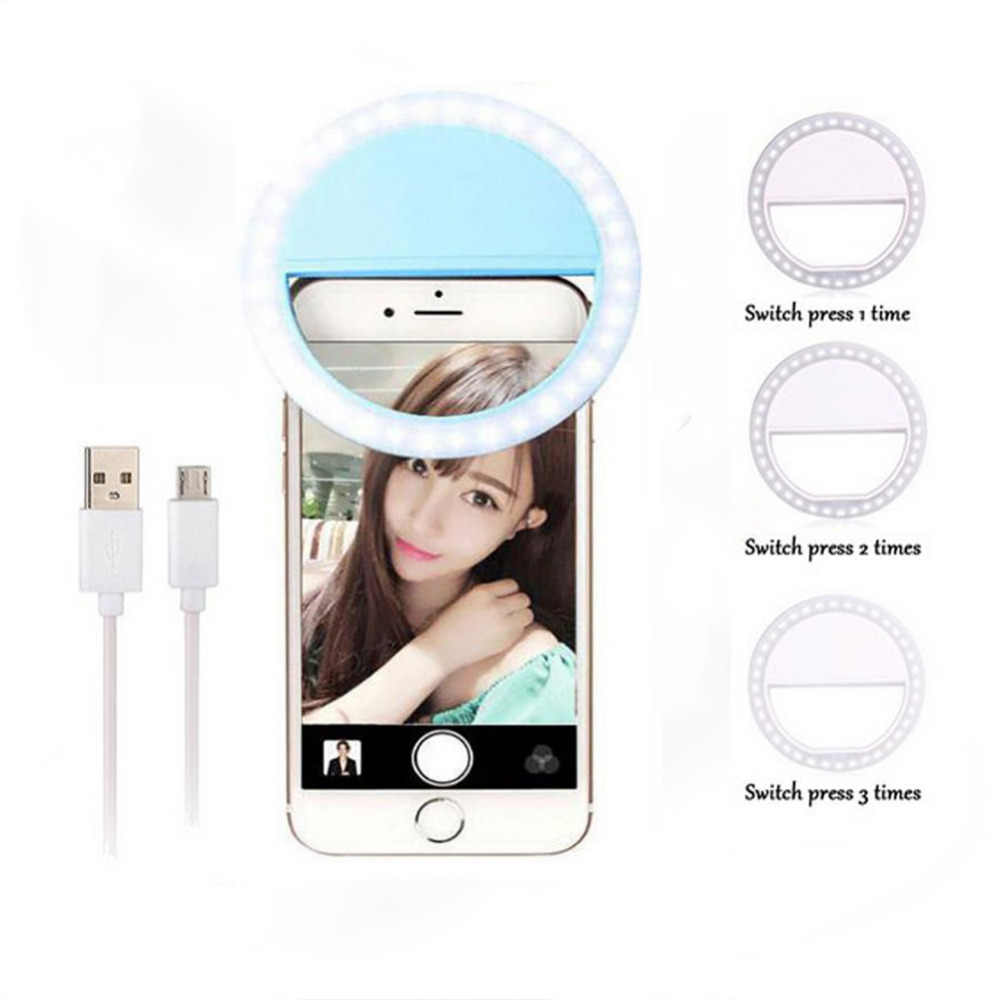 USB Charge Makeup Mirror LED Mobile Phone light Artifact Pro Lady LED Beads Photography Light Beauty Tools For Photo fill light