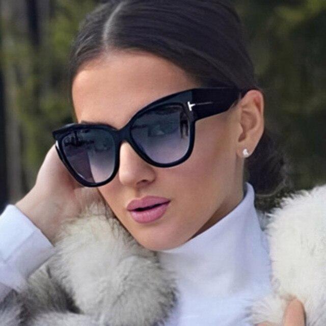 Women Sunglasses  New Fashion Brand Designer Cat Eye Female Gradient Points Sun Glasses Big Oculos feminino de sol UV400 2
