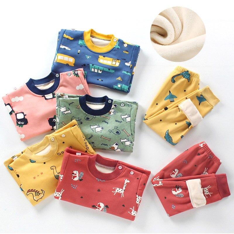 2020 winter kids clothing sets warm fleece pajamas for boys and girls thicken children sleepwear velvet baby thermal underwear Uncategorized cb5feb1b7314637725a2e7: 016xbl|017xox|018wph|019xsr|blue bear|blue cat|dot cat|green moneky|green pineapple|orange bear|pink dinosaur|pink rabbit|yellow dinosaur