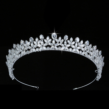 Tiara En Kroon Hadiyana Elegante Wedding Haar Accessoriess Fashion Party Gift Haar Clip Cubic Zirkoon BC5511 Corona Princesa