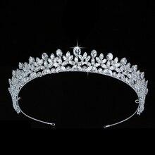 Tiaras ve taç HADIYANA Elegante düğün saç aksesuarları moda parti hediye saç tokası kübik zirkon BC5511 corona princesa