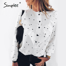 Simplee Elegant polka dot women blouse shirt
