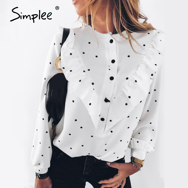 Simplee Elegant Polka Dot Women Blouse Shirt Spring Ruffle Long Sleeve Shirt Top Casual Buttons Blusa Lady Spring Tops Blusas