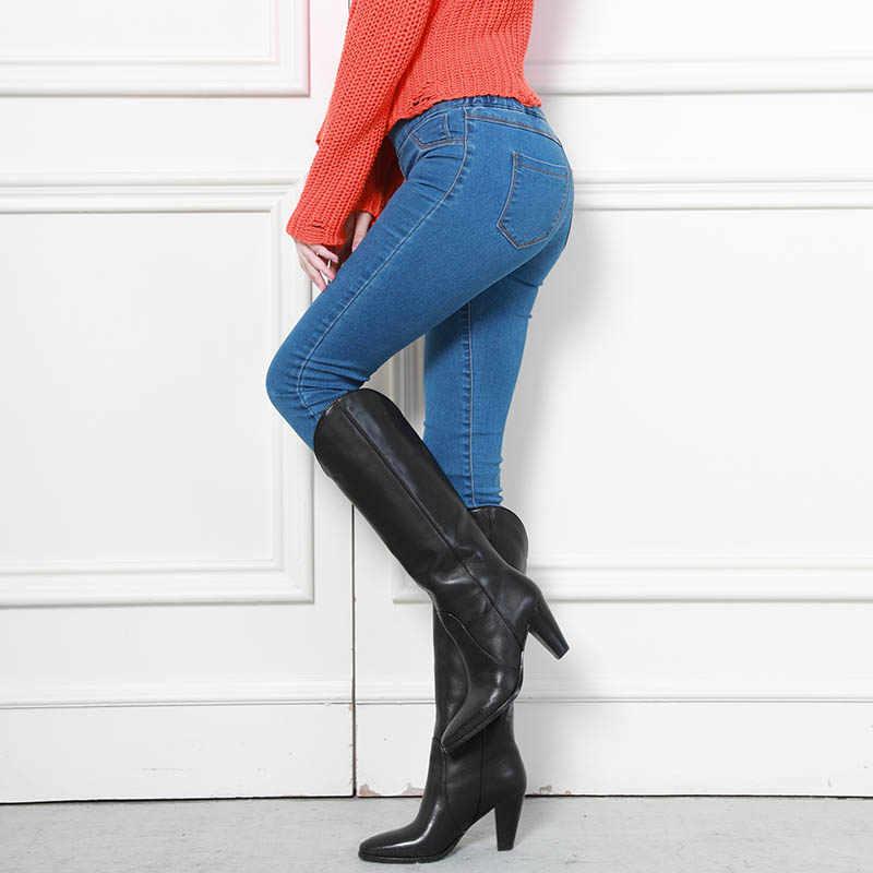 Otoño Invierno minimalista Mujer Denim Delgado elástico falso bolsillo frontal cintura media lavado azul Delgado elástico señora Jeans